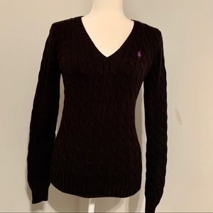 Ralph Lauren Sport V-Neck Cable Knit Sweater M